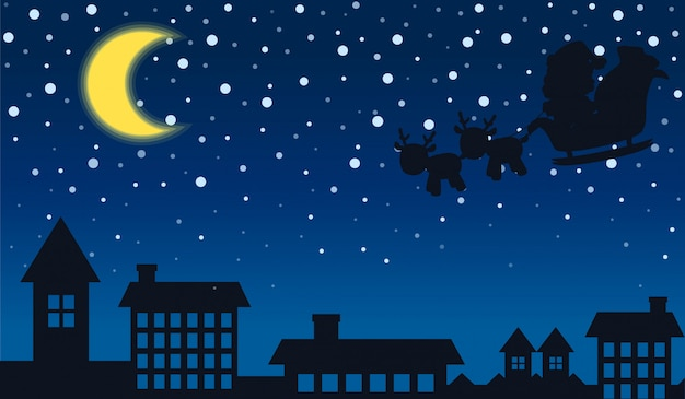 Silhouet van de kerstman en de stad nacht
