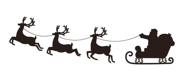 Silhouet van de kerstman rijden in een slee getrokken door rendieren. kerst vectorillustratie.
