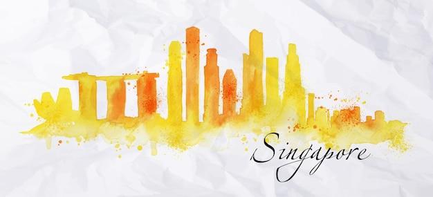 Silhouet van de stad van singapore