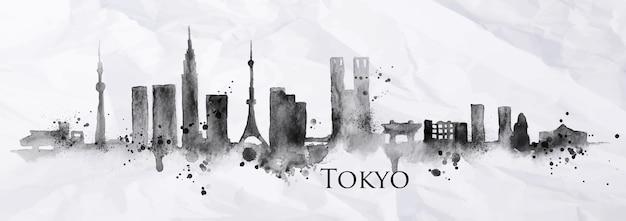Silhouet van de stad van tokyo