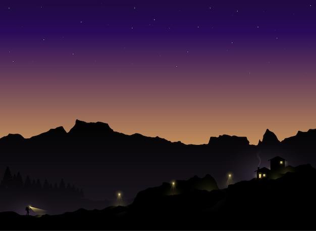 Silhouet van de toerist die in de schemering terug naar huis wandelt. vector illustratie