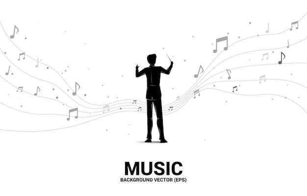 Silhouet van dirigent permanent met vliegende muzieknoot. concept achtergrond voor orkestconcert en recreatie.