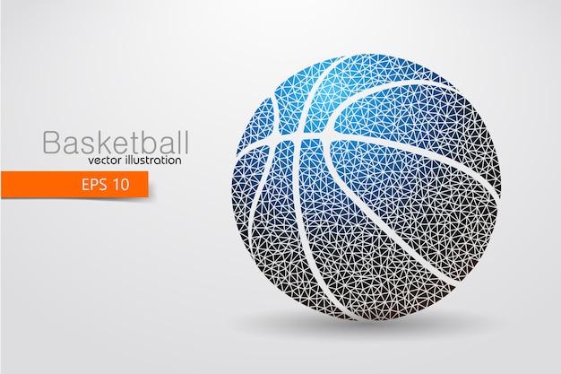 Silhouet van een basketbalbal uit driehoeken