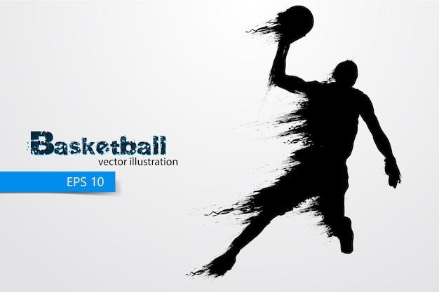 Silhouet van een basketbalspeler. illustratie