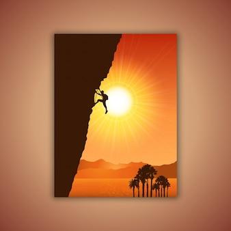 Silhouet van een bergbeklimmer tegen een tropische landschap