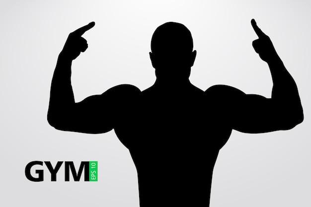 Silhouet van een bodybuilder. sportschool