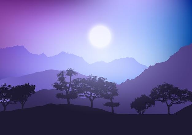Silhouet van een boomlandschap tegen een zonsonderganghemel