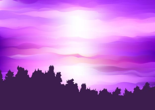 Silhouet van een boomlandschap