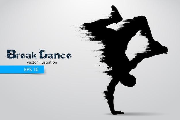 Silhouet van een breakdancer man