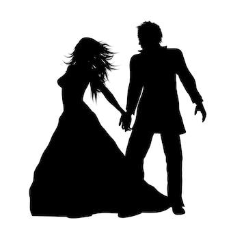 Silhouet van een bruid en een bruidegom