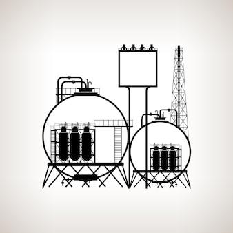 Silhouet van een chemische fabriek of raffinaderij die natuurlijke hulpbronnen verwerkt, of een fabriek voor de vervaardiging van producten op een lichte achtergrond