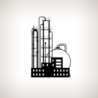 Silhouet van een chemische fabriek