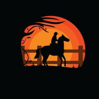 Silhouet van een cowboy in het bos