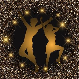 Silhouet van een dansend paar op een glitteryachtergrond