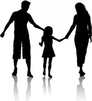 Silhouet van een gezin wandelen