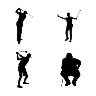 Silhouet van een golfspeler vectorillustratie