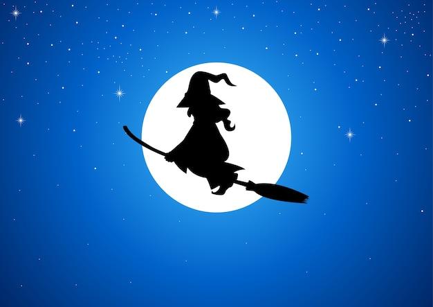 Silhouet van een heks vliegt met haar bezem tijdens de volle maan