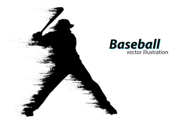 Silhouet van een honkbalspeler. vector illustratie