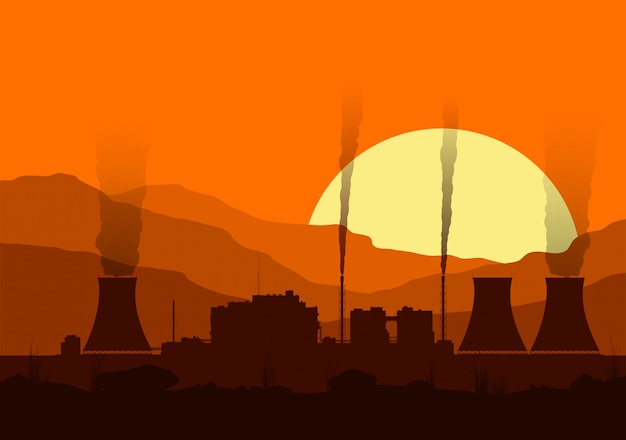 Silhouet van een kerncentrale met verlichting bij zonsondergang in de bergen.