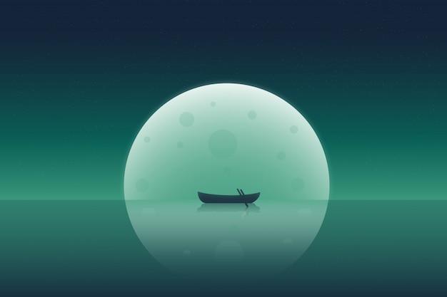 Silhouet van een kleine boot voor de grote maan