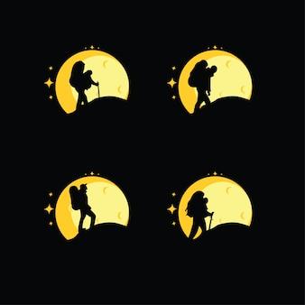 Silhouet van een klimmer instellen