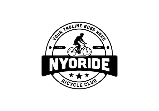 Silhouet van een man die op een fiets rijdt. vintage fiets club logo ontwerpsjabloon inspiratie