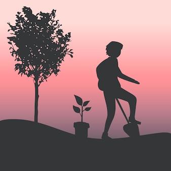 Silhouet van een man tuinieren vector