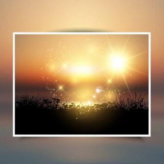 Silhouet van een met gras begroeide landschap tegen een zonsondergang hemel