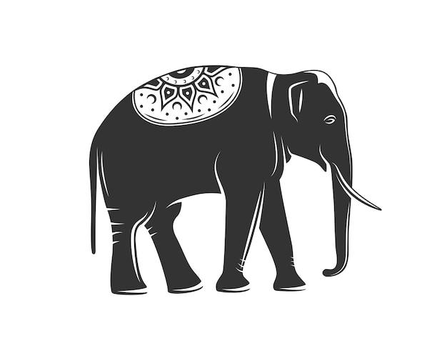Silhouet van een olifant geïsoleerd op een witte achtergrond