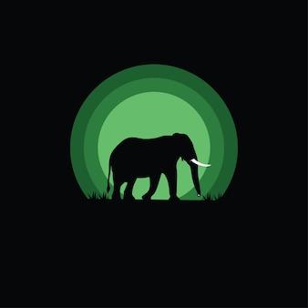 Silhouet van een olifant