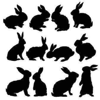 Silhouet van een omhoog zittend konijn, vectorillustratie