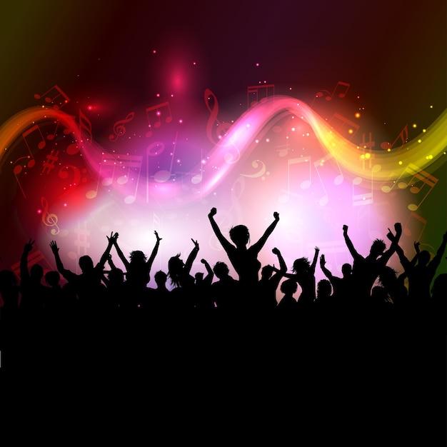 Silhouet van een opgewonden publiek op een kleurrijke achtergrond van muzieknoten