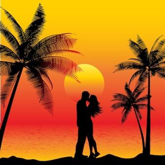 Silhouet van een paar kussen op een strand bij zonsondergang