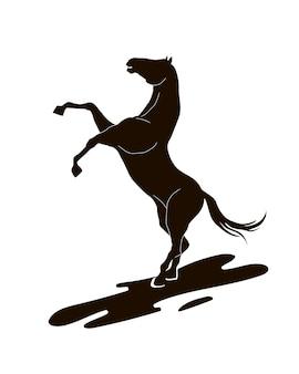 Silhouet van een paard dat opstaat.