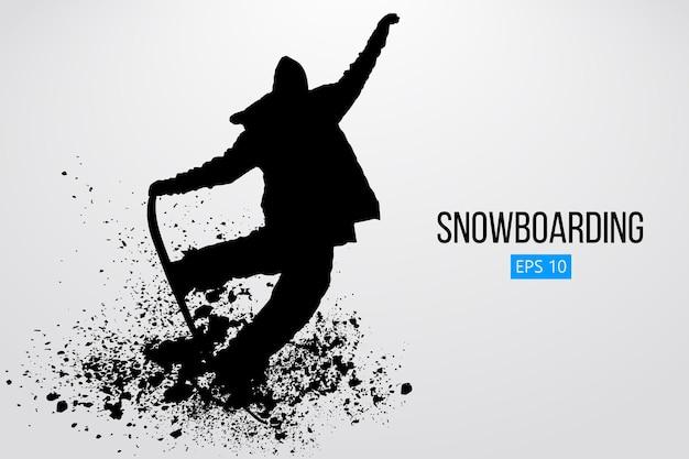 Silhouet van een snowboarder