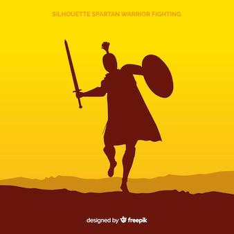 Silhouet van een spartaanse krijger opleiding