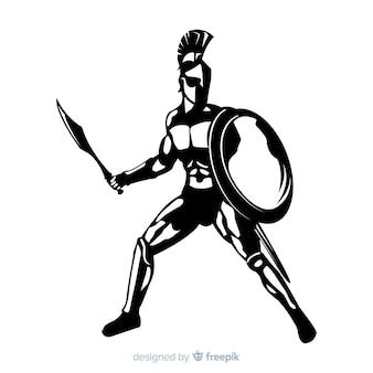 Silhouet van een spartaanse krijger