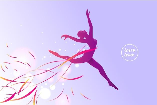 Silhouet van een springend meisje