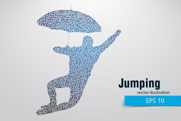 Silhouet van een springende man uit driehoeken