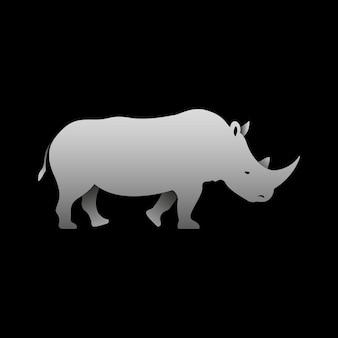 Silhouet van een staande grijze neushoorn