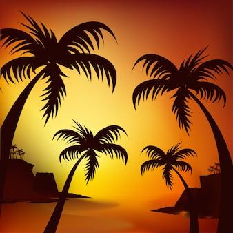 Silhouet van een surfer en palmbomen bij zonsondergang