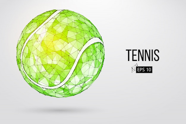 Silhouet van een tennisbal van deeltjes.