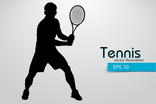 Silhouet van een tennisser