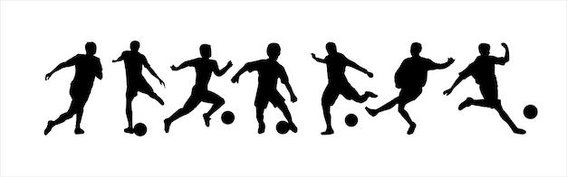 Silhouet van een voetballer met een bal atleet zwart stencil icon voetbalspeler logo