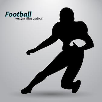 Silhouet van een voetballer. rugby. amerikaanse voetballer