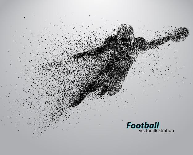 Silhouet van een voetballer uit deeltje. rugby. amerikaanse voetballer