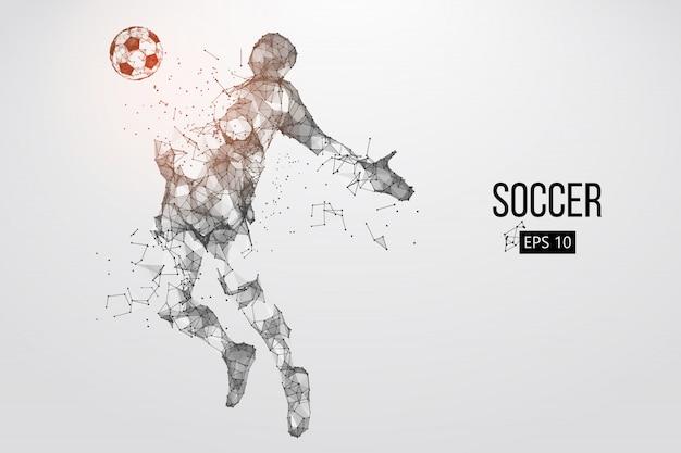 Silhouet van een voetballer uit deeltjes.