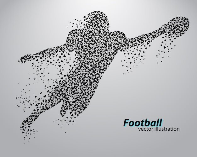 Silhouet van een voetballer uit driehoek. rugby. amerikaanse voetballer