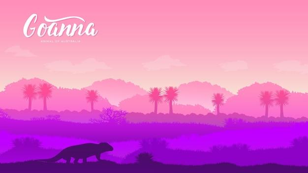 Silhouet van een wild dier op de achtergrond van australië. landschap van bergen