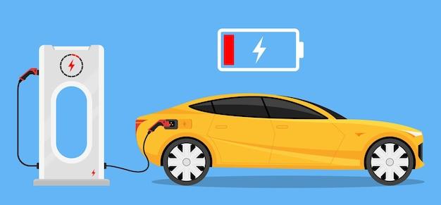 Silhouet van elektrische auto met lage batterijlading bij elektrisch laadstation